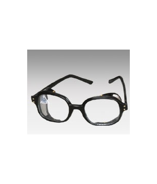 Spectacles with a Clear Flat Lens and a Side Black Mesh  (SPBLMFCL)