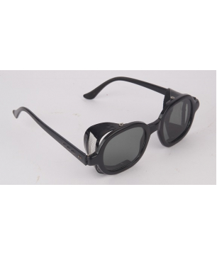 Spectacles with a Grey Flat Lens and a Side Black Mesh  (SPBLMFGR)
